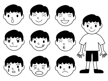 10 patterns for boys and facial expressions