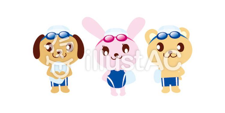 動物キャラクタースポーツスイミングイラスト No 793136無料