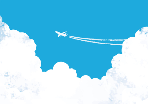 Blue sky and airplane background Wallpaper Texture 10