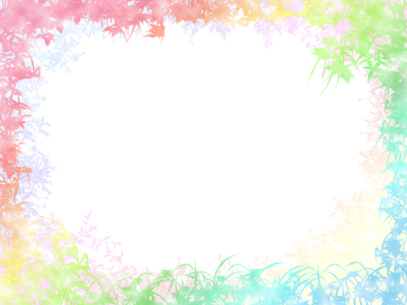 잎 식물 수채화 프레임 2 소프트 배색