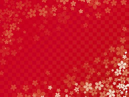 櫻花的幀格子朱紅色