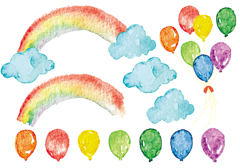 """Watercolor"" Rainbow / Balloon"