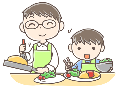 Father and son cooking