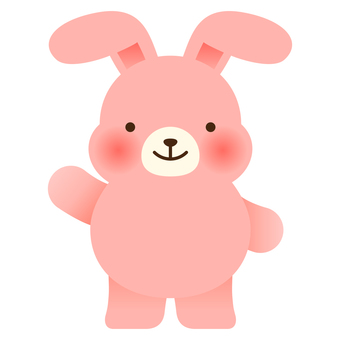 Illustration of a pink rabbit with one hand raised
