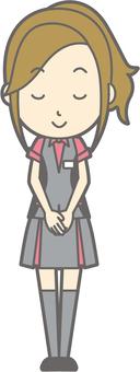 Pachi girls clerk - Bow - Smile - whole body