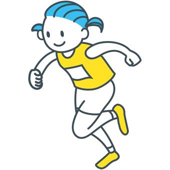 Blue yellow white running track girl