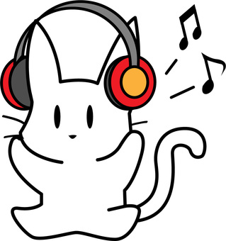 White cat listening to music with headphones