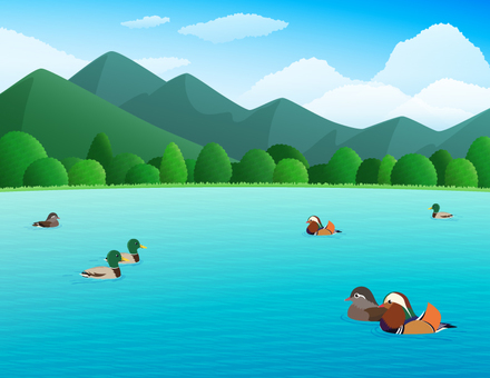 Duck swims over lake and mountain landscape