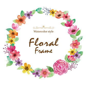 Watercolor colorful flower frame