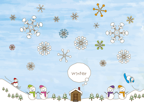 Winterscape and snowman