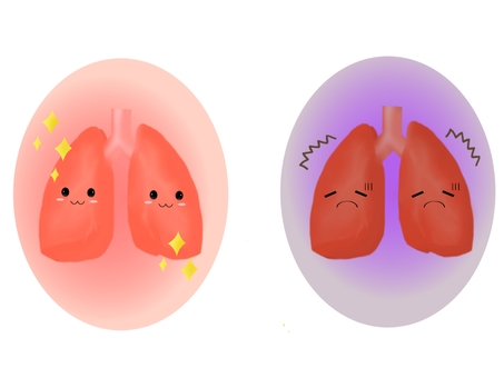 Healthy lungs and tired lungs