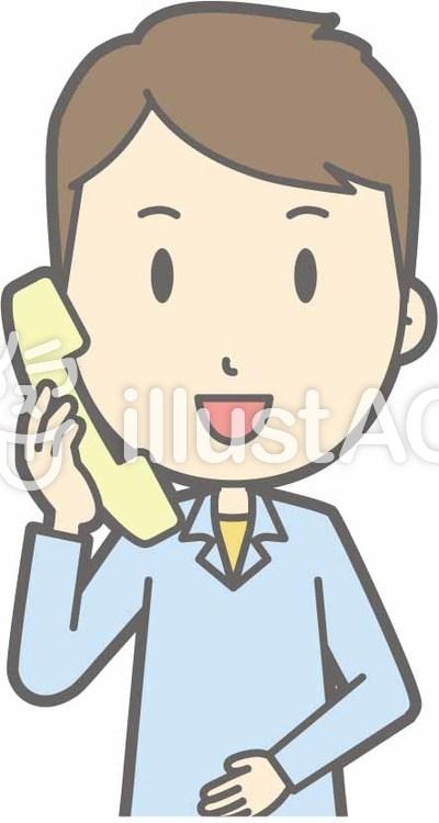 私服男性a-電話-バストのイラスト