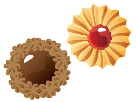 꽃 모양 쿠키 _ 초코와 딸기 잼