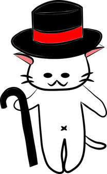 Nyanko. Hat and stick