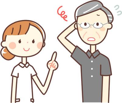 シンプルな人物_看護師さんとおじいさん