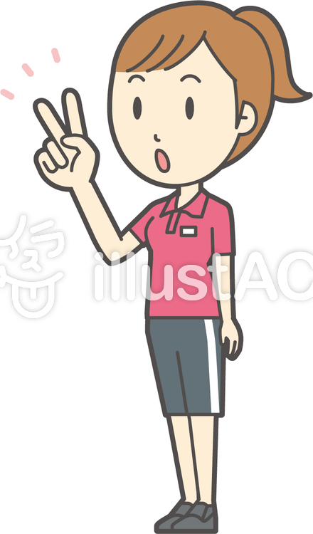 赤ポニーテール女性-208-全身のイラスト