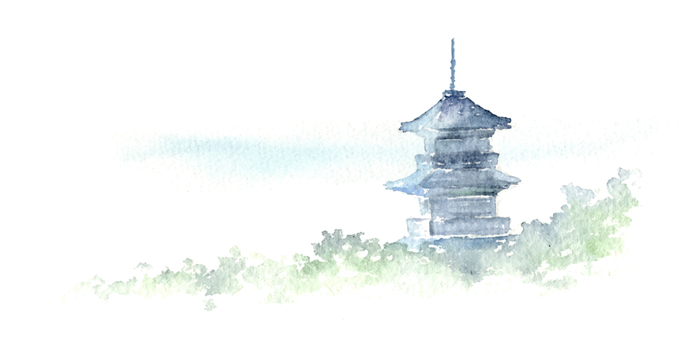 A landscape where a temple can be seen Watercolor painting