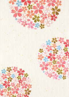Sakura _ Round form _ Japanese paper _ longitudinal background 2181