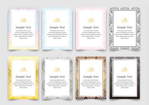 Colorful damask pattern frame vertical background set