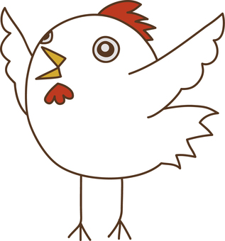 날개를 펼친 우는 닭