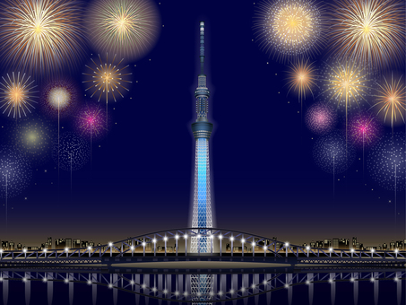 ai Tokyo Sky Tree Fireworks - Background frame