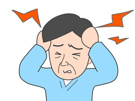 Pain in elderly male head