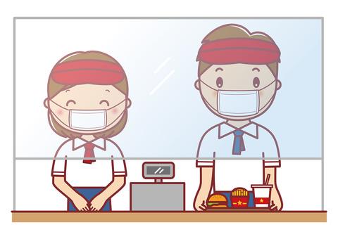 Vinyl curtain Yu Fast food clerk