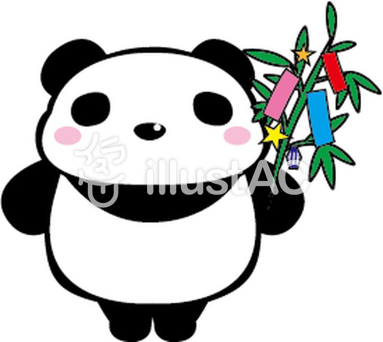 たなばたパンダのイラスト