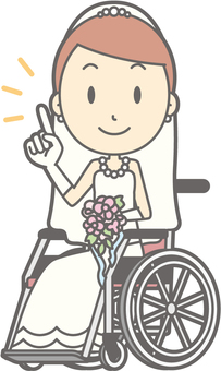 Bride dress - wheelchair pointing - whole body