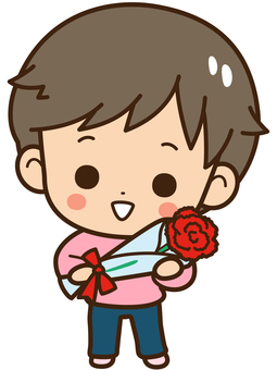A boy with carnation
