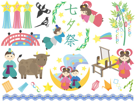 Tanabata's cute illustration set
