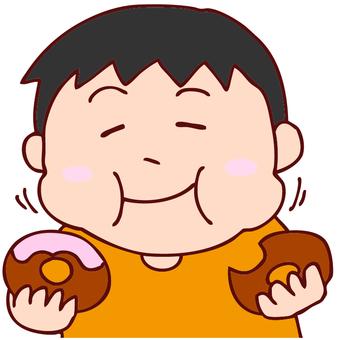 Illustration of men eating a donut