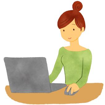一個女人誰操作個人電腦