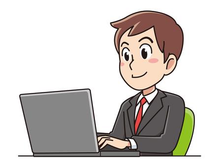 Un hombre de negocios usando una computadora portátil