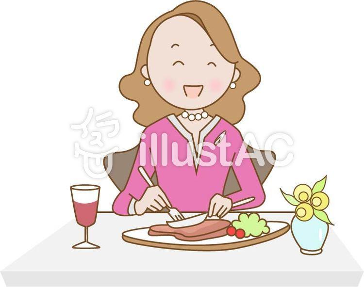 レストランで食事する女性イラスト No 884510無料イラストなら