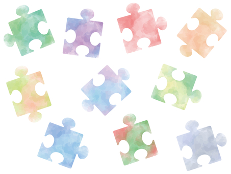 Jigsaw puzzle watercolor style