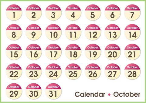 Calendar circle October