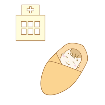 Baby and hospital illustration