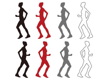 Silhouette · Walking Women