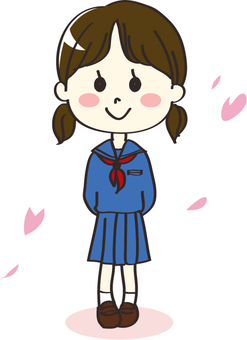 Girls student cherry blossom in a sailor suit