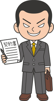 Salesman holding a contract