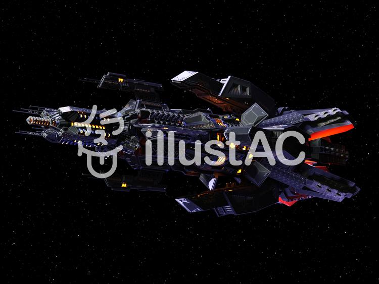 エイリアン巨大戦艦のイラスト