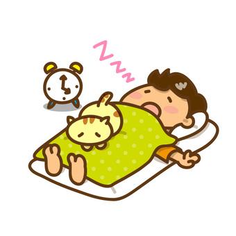 一個男孩和一隻貓睡得很香