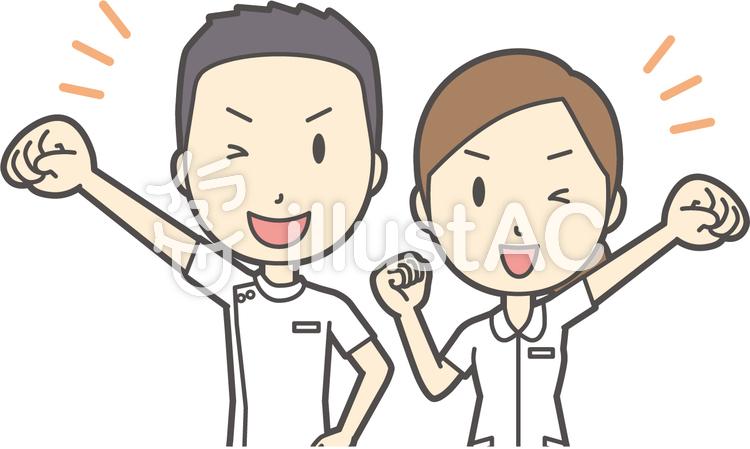 男女セット看護師-021-バストのイラスト