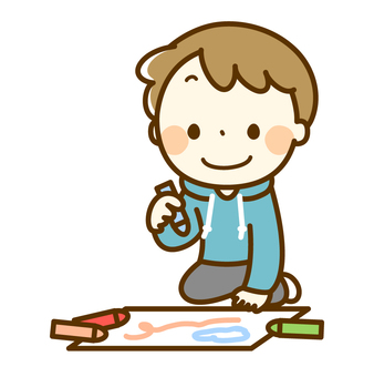 Boy making drawing