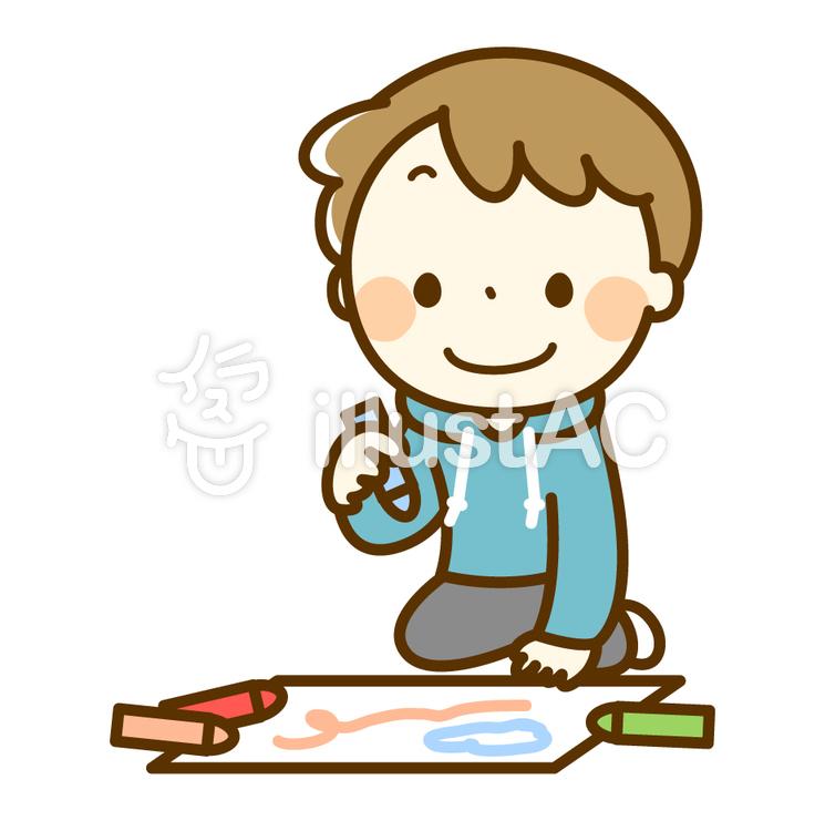 お絵かきをする男の子のイラスト
