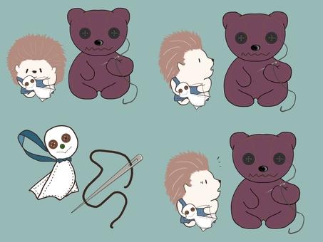 Hedgehog and stuffed bear