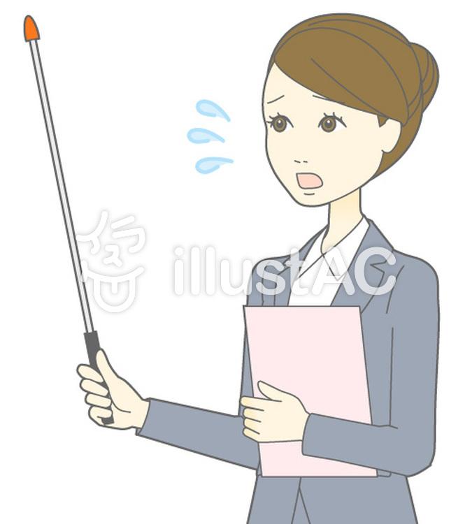 D女性スーツ-指示棒2横視線-斜めバストのイラスト