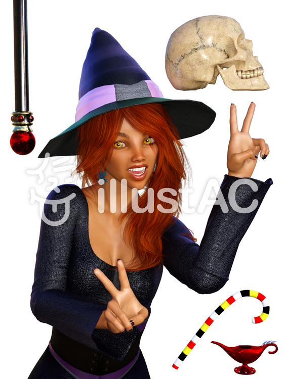 ハロウィーン:魔法使いコスプレの美女のイラスト