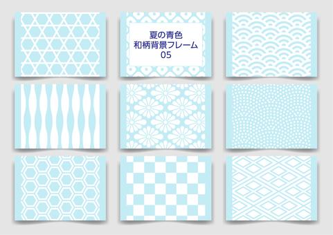 Summer light blue Japanese pattern background frame pattern 05